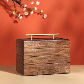 2020 New Luxury Large Wooden Jewelry Box Organizer 4 layer Jewelry Storage Case Casket Earring