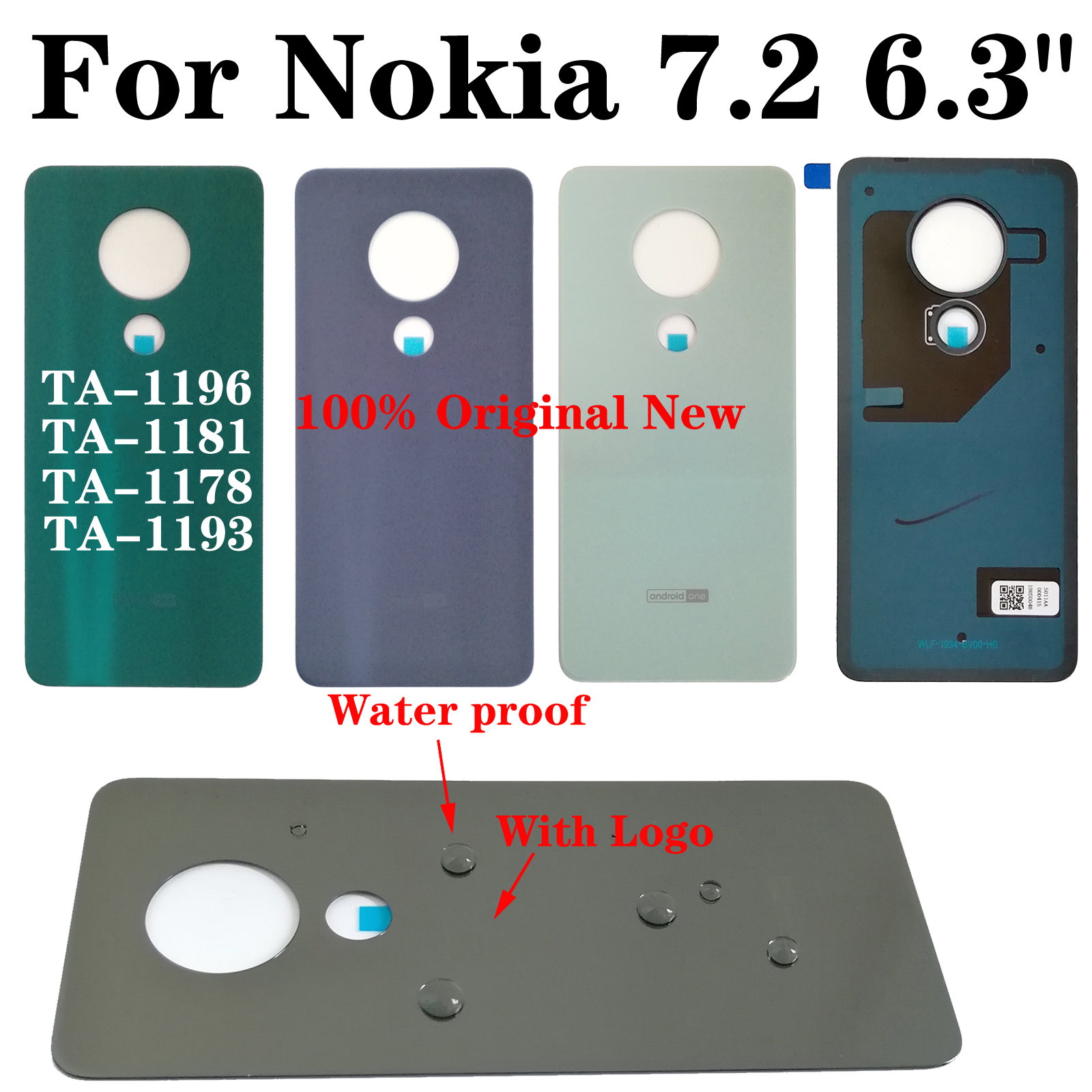 "Shyueda 100% Original New 6.3"" For Nokia 7.2 TA-1196 TA-1181 TA-1178 TA-1193 Glass Rear Back Door Housing Battery Cover(China)"