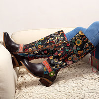 Socofy Vintage mi-mollet bottes femmes chaussures bohème rétro cuir véritable moto bottes imprimé côté fermeture éclair arrière Botas X14-81