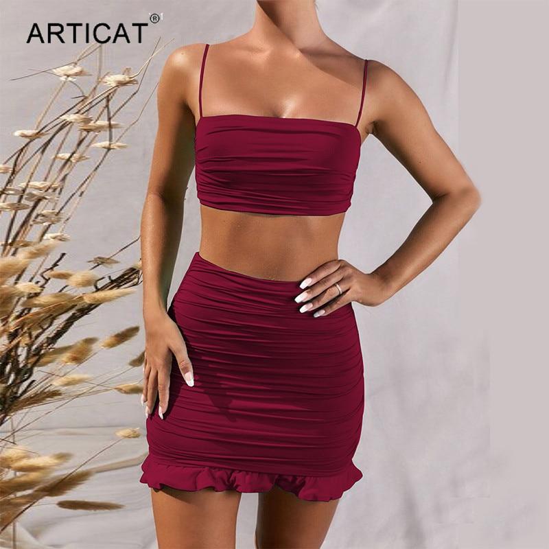 Articat White Women 2 Piece Set Bodycon Dress Ruffles Off Shoulder Crop Top Summer Dress Casual Short Beach Vestidos 3