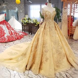 Image 3 - Ls65740 황금 꽃 아름 다운 드레스 중국에서 빠른 배송 어깨 아가씨 레이스 위로 a 라인 저렴 한 이브닝 드레스