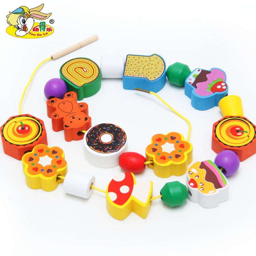 Large Particles Cake Beaded Bracelet Wearing Rope 70 Grain Children Wooden Early Education ENLIGHTEN Toy Handmade String Beaded