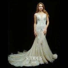 цена на 2020 S.D.TES Gorgeous Ivory Jewel Sheer Neck Beaded Sequins Embroidery Lace Tassel Beads Sweep Train Mermaid Wedding Dress