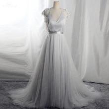 RSW1656 Real Pictures Backless Beaded Tassel Robe De Mariee 2 Em 1 Lavender Vestido De Novia Bohemio