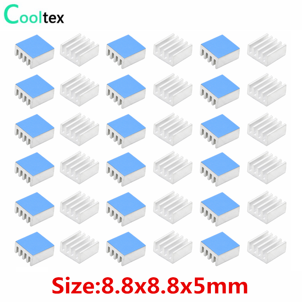 50pcs 8.8x8.8x5mm Aluminum Heatsink Radiator Cooling Cooler For Raspberry Pi Electronic Chip IC With Thermal Conductive Tape