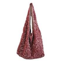 Sac à main à paillettes pour femmes, sac à bandoulière de grande capacité, fourre-tout à paillettes perlées, sacs à main sirène rose