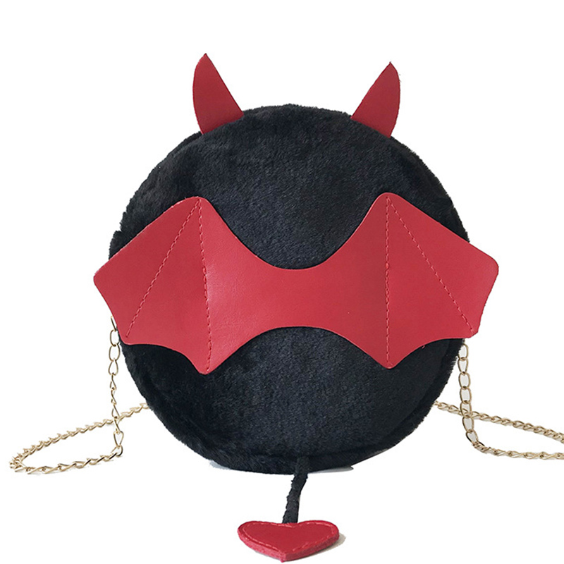 Women Girls Fashion Velvet Hairy Small Round Bag Cute Demon Chain Shoulder Diagonal Package Bag New Arrive