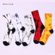 Носки хлопковые цветные с мраморным рисунком для мужчин и женщин