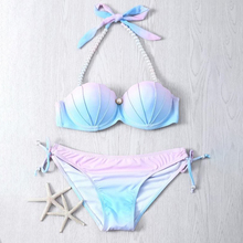 Push-Up Bikini Support Swimwear Women Chest-Strap Hot-Sale Solid Low-Waist Gradient