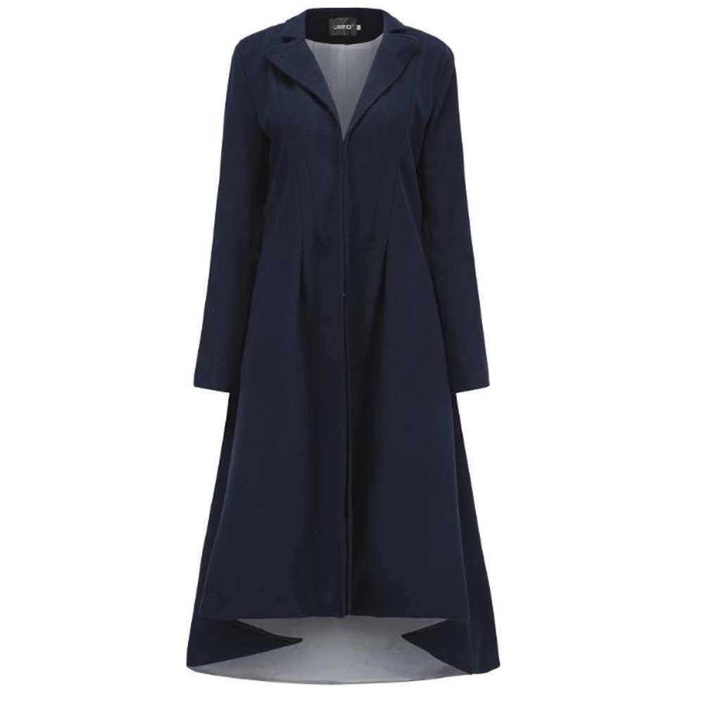 Plus Size Long Woolen Coat Black Vintage Long Sleeve Swallowtail Winter Loose Casual Coat Women Outerwear Casaco Feminino