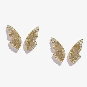 2020 новые золотые серебряные серьги-гвоздики в виде крыльев из розового золота со стразами и бабочками для женщин милые маленькие серьги-гвоздики с кристаллами