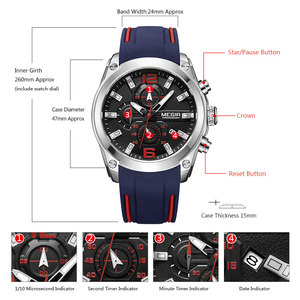 Image 4 - MEGIR Sport Watch Men Blue Silicone Chronograph Quartz Man Watches Clock Luxury Brand Wristwatch Relogio Masculino Reloj Hombre