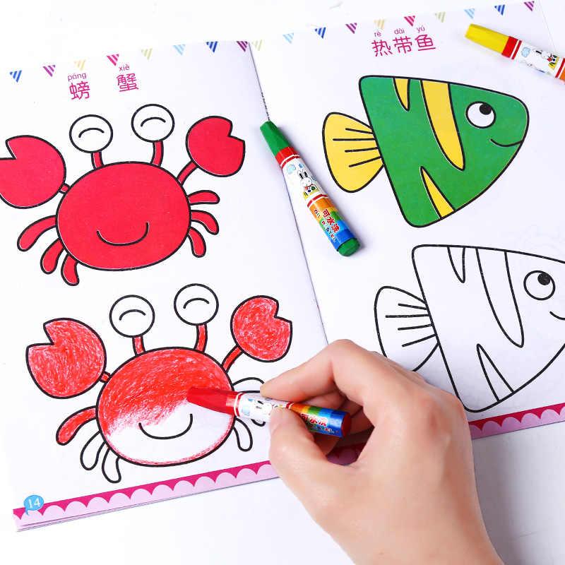 Novedad de 2020, 12 unidades por juego, juguetes para niños, bonitos dibujos de figuras para niños, Libros para colorear, fácil de aprender, Libros para dibujar