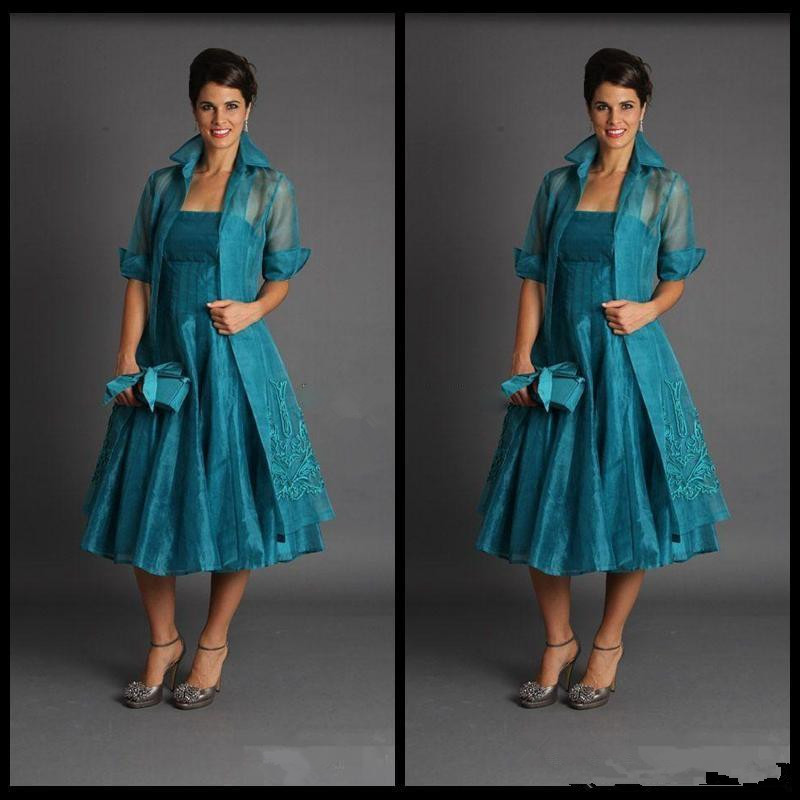 Vestido De Madrinha Plus Size 2019 Short Mother Of The Bride Dresses With Jacket Tea Length Evening Party Gowns Cheap Organza