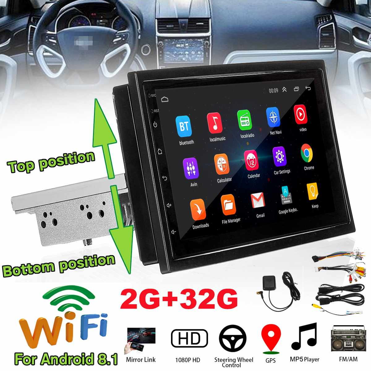 Car-Player Car-Radio-Mirror Navigation All-In-One-Machine Wifi Bluetooth Android 1-Din title=