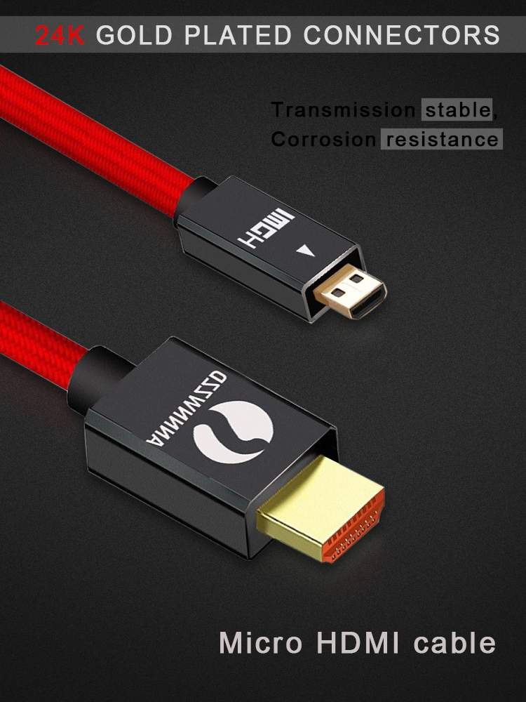 Micro HDMI to HDMI Cable 2.0 3D 4k 1080P high speed HDMI Cable Adapter 1m 2m 3m 5m for HD TV PS3 XBOX PC camera Micro HDMI Cable