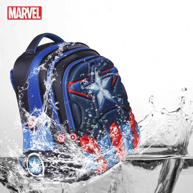 MARVEL Children 3D Spiderman Design Schoolbag Boys Girls Primary School Backpack Kids Captain America Kindergarten Schoolbag