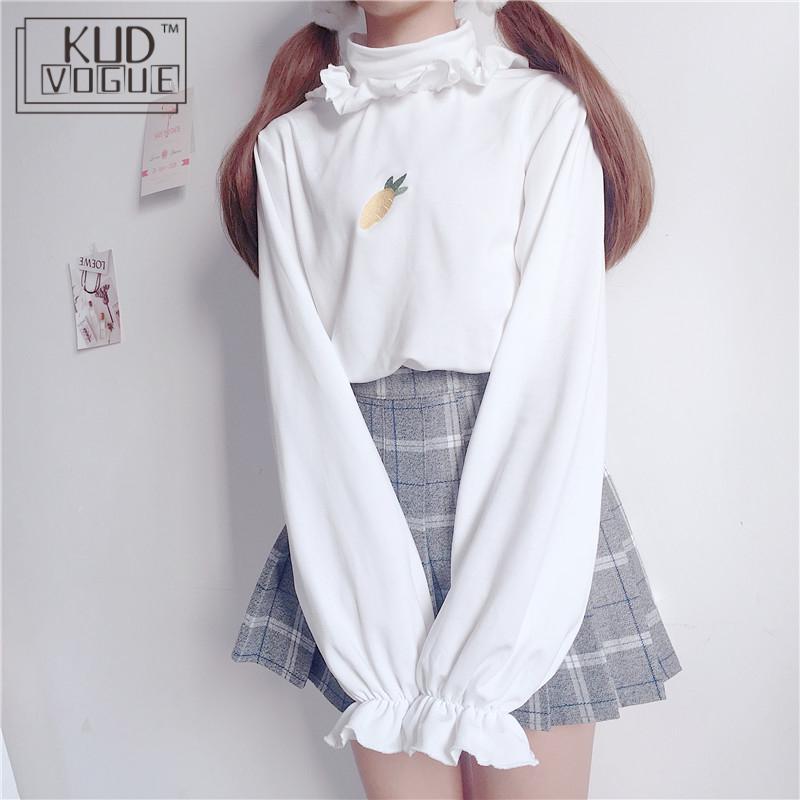 Lolita Kawaii T-shirt Sweet Korean Harajuku Fleece Sweatshirt Cartoon Embroidery Top Female Long Sleeve Autumn Japanese Pullover