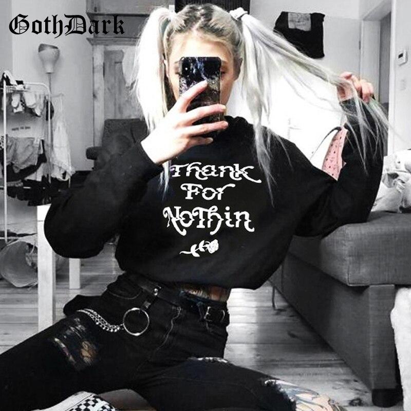 Goth Dark Grunge Punk Gothic T-shrits For Women Harajuku Letter Print Cropped Top Long Sleeve Female Tshirt Autumn 2019 Fashion