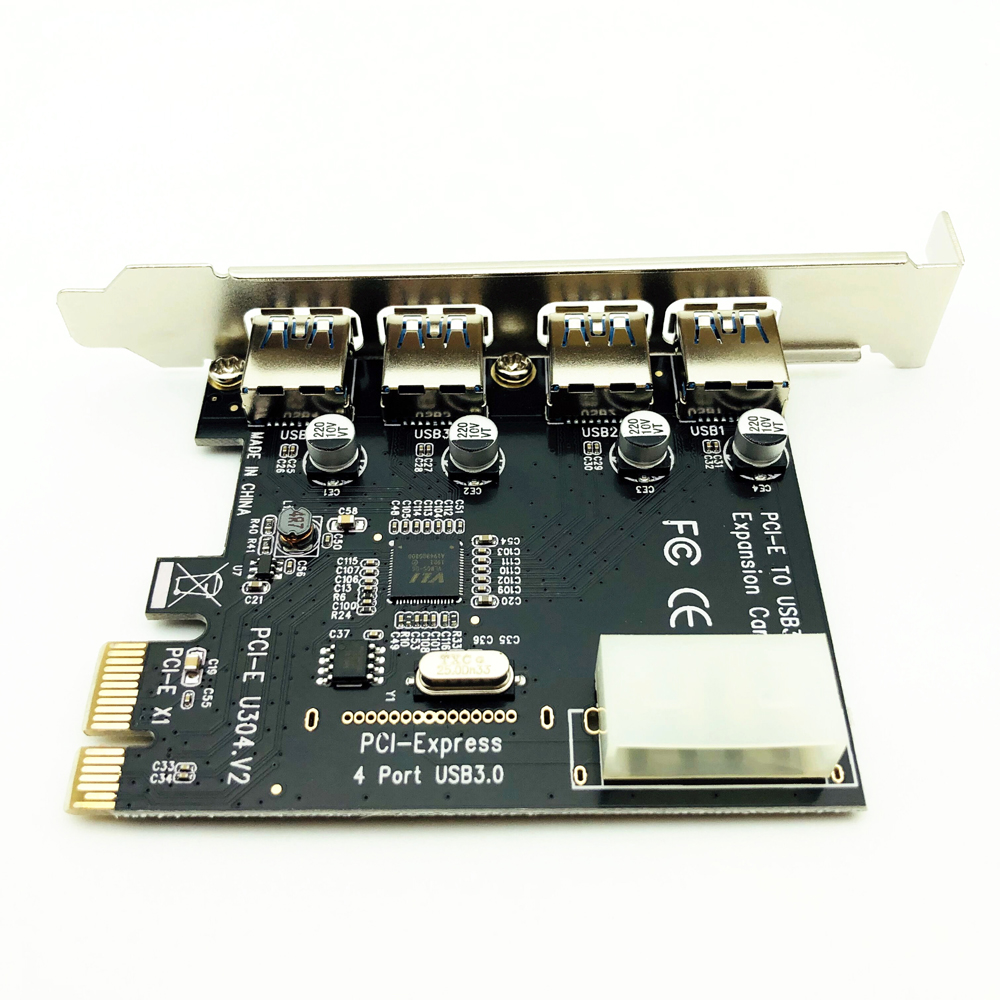 For Desktop 1 Set Professional 4 Port <font><b>PCI</b></font>-E To <font><b>USB</b></font> <font><b>3.0</b></font> HUB <font><b>PCI</b></font> <font><b>Express</b></font> Expansion Card Adapter 5 Gbps Speed <font><b>USB</b></font> <font><b>3.0</b></font> <font><b>PCI</b></font> <font><b>Express</b></font> image