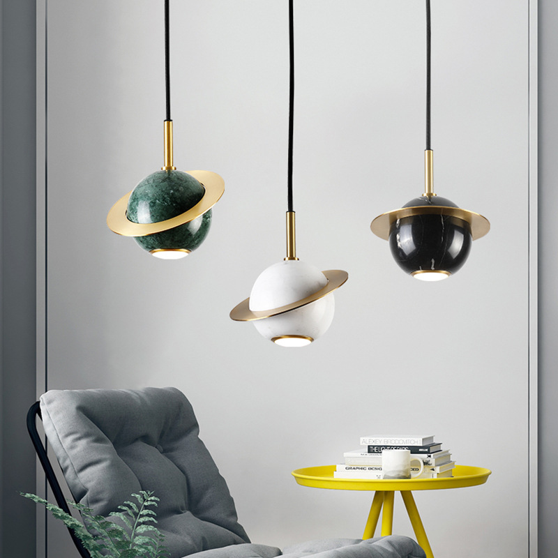 Designer pendant light Nordic restaurant lamp modern bedroom bedside light luxury brass marble planet lamp Earth lamp LB40915