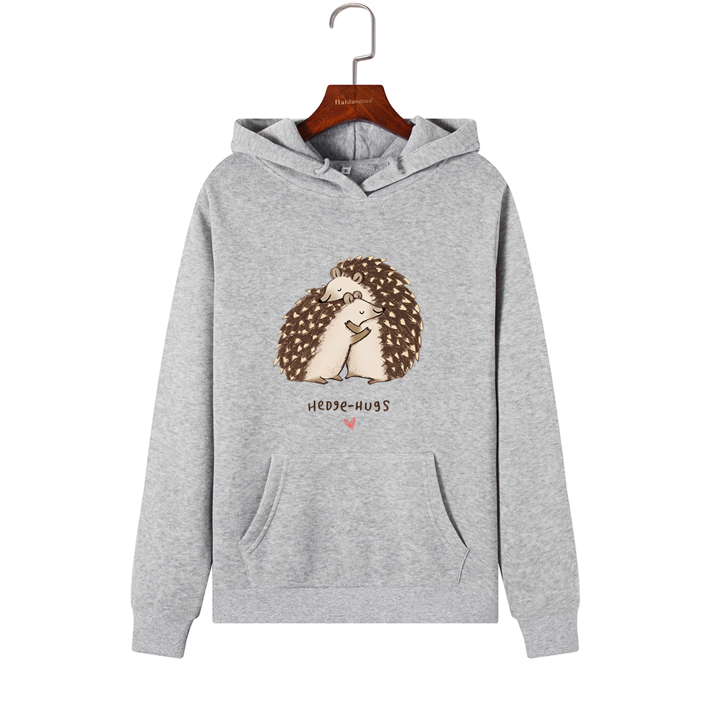 Women Hoodies Sweatshirts Hooded Sweatshirt Hedgehog Hug Print Autumn Winter Pullover Female Hoodie Tops Clothes Outwear
