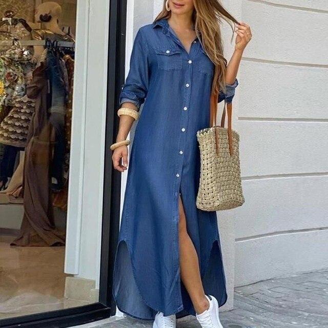 Fashion Women Korean Denim Dress Plus Size Summer Dress Lapel Split Sexy Long Maxi Jeans Dress Vestidos De Mujer 2021 #T2Q 1