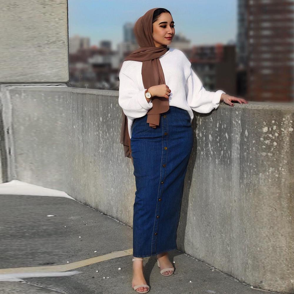 Muslim High Waist Button Denim Skirt Long Islamic Skirts Women Bottom Jeans Jupe Musulmane Femme Abaya Turkey Arabic Skirts