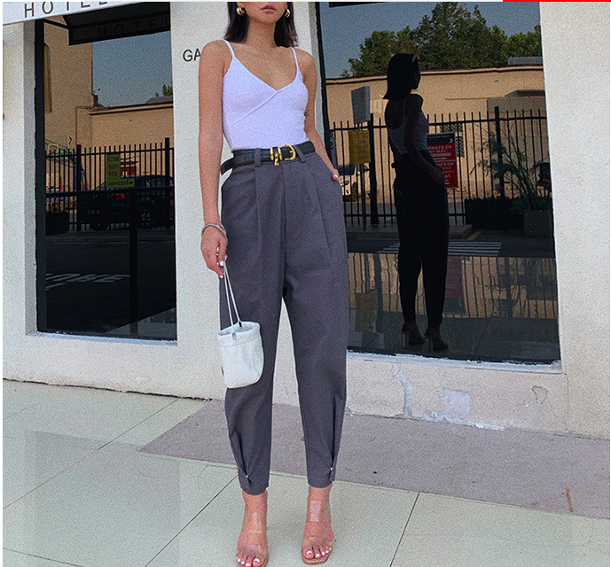 Obrix Trendy Casual Style Female Cargo Pants High Waist Ankle Length Pockets Pants For Women