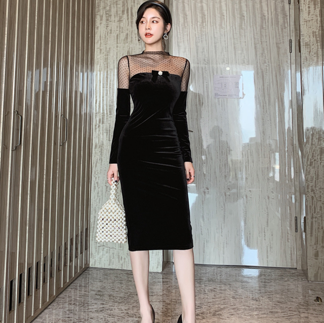 2021Fashion Polka Dot Mesh Slim Ladies Dresses Sexy Long Sleeve Women Bodycon Dress 1