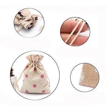 1pcs * Gift BagsLinen Cotton Bag 10*14cm Muslin Cosmetics Gifts Jewelry Packaging Bags Cute Drawstring Gift Bag image