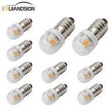 10x 0,5 W E10 Schraube Basis 1smd 5050 Anzeige Birne Niedrigen Power Verbrauch DC3v 6V 12V Weiß 6000K Warm weiß 4300K LED Glühbirne