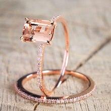 Juego de anillos cuadrados de circonia cúbica para mujer, joyería para fiesta y boda, Color oro rosa