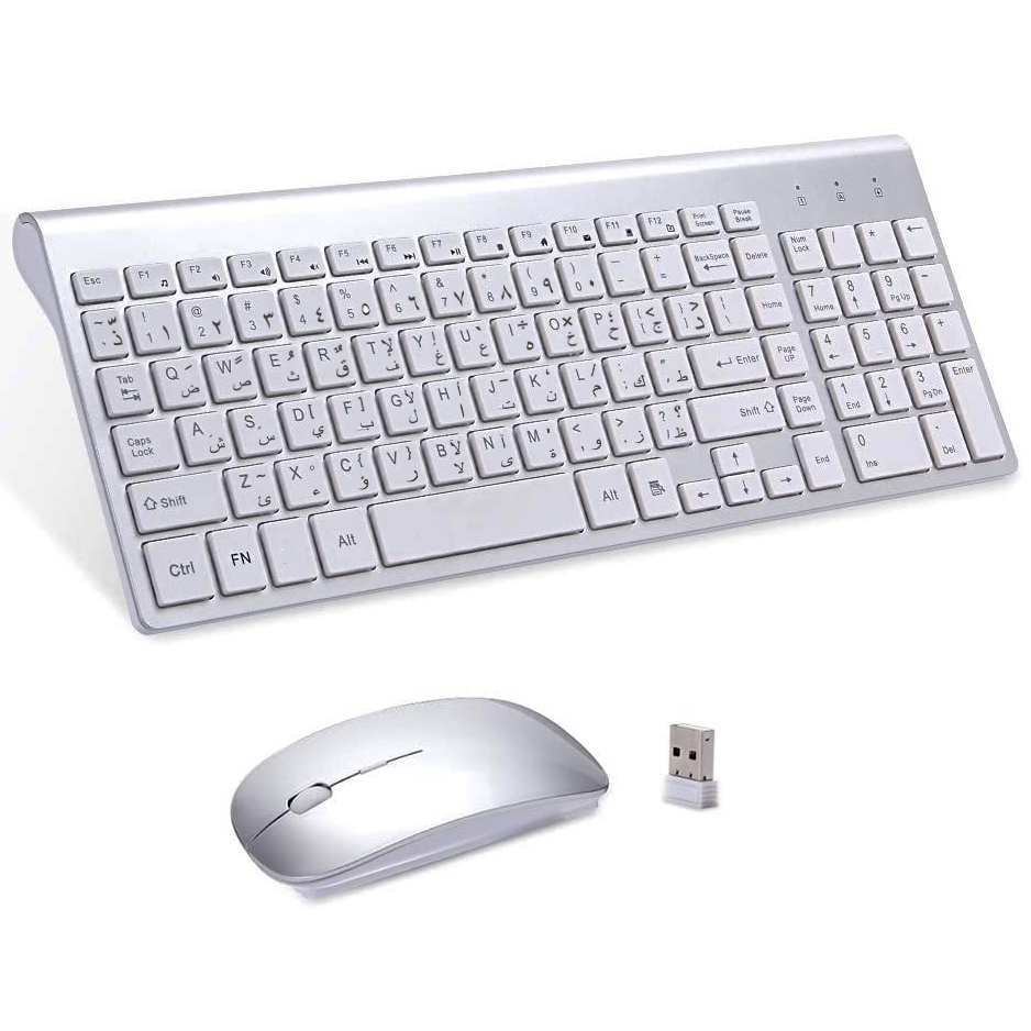 Arabic & English characters Ultra-thin Business Wireless Arabic keyboard and mouse combo low noise Mice for Office Notebook