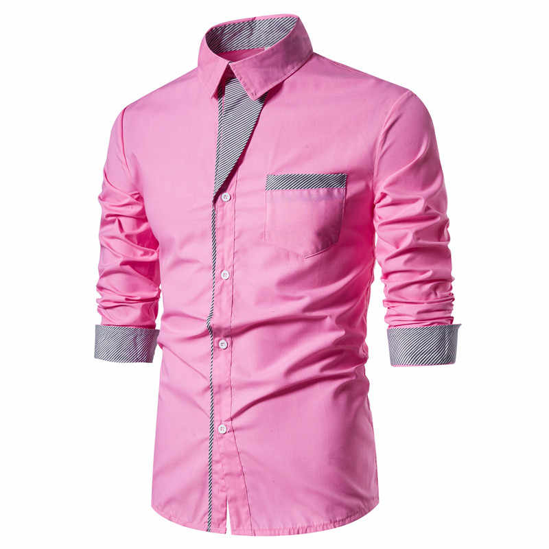 2020 primavera camisas dos homens casual fino ajuste camisas de vestido dos homens manga longa camisa social de negócios camisa de retalhos hombre