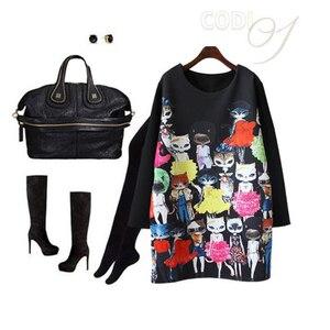 Image 2 - נשים חתול חמוד Cartoon הדפסת שמלה מזדמן רופף ארוך שרוול בתוספת גודל שחור ישר מסיבת אלגנטי בציר מיני שמלות