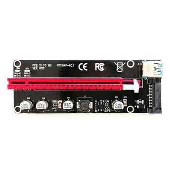 50PCS Riser New VER011C PCI Express Riser Card PCI-E 1X to 16X Extender USB 3.0 SATA Power LED for Antminer Bitcoin Miner Mining