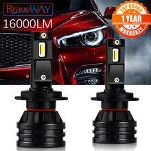 BraveWAY – Ampoules LED 12V pour phares de voiture, lumière H4 LED, H7, 16000 lm, H1, H3, H8, H11, lampe HB3, HB4, 9005, 9006 turbo