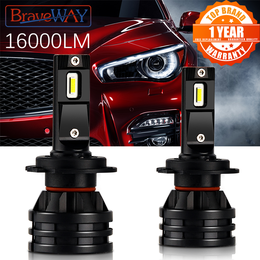 Braveway Autolichten Led H7 16000LM H11 Led Lamp Voor Auto Koplamp Lampen H4 H1 H8 H9 9005 9006 HB3 HB4 Turbo H7 Led-lampen 12V 24V