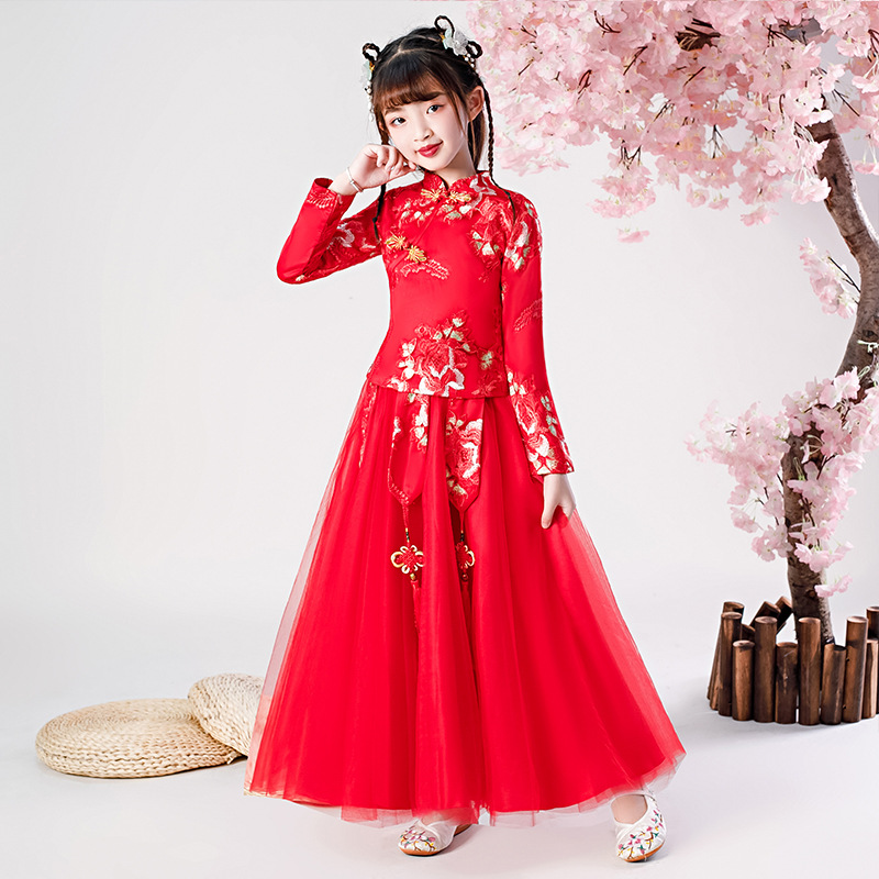 Flower Girl Dress Lace Embroidery Baby Princess Dresses Kids Wedding Teens Party Vestidos Girls Floral Chinese New Year Dress