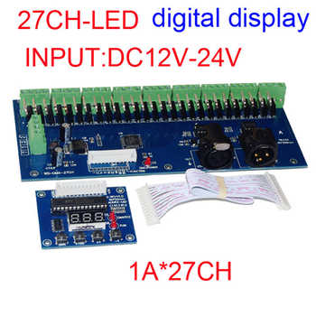 DMX-27CH-LED digital display led dimmer 1A*27CH decoder DC12V-24V led RGB controller for led lamp Free shipping