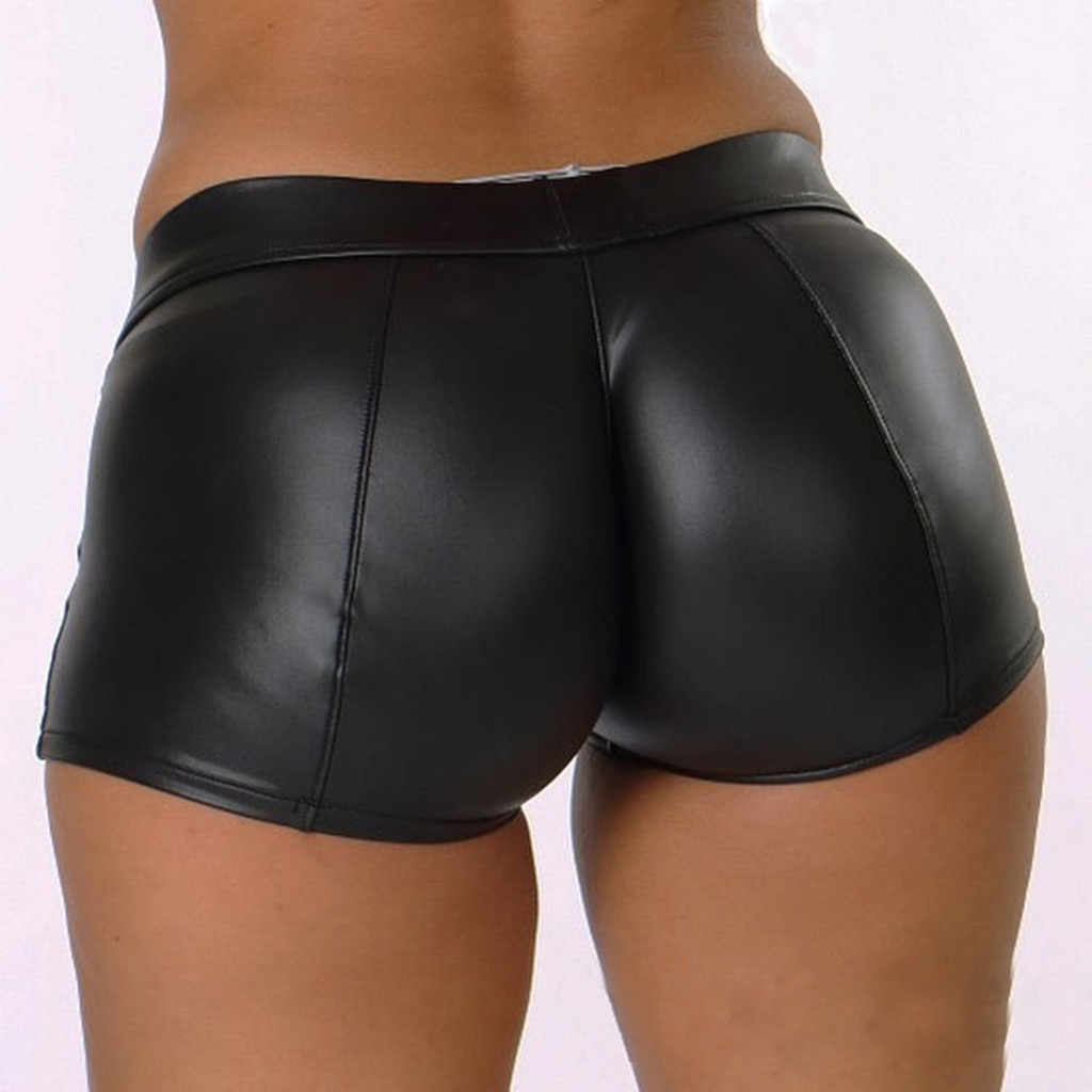 Sexy Frauen Shorts Shiny Elastische Taille Shiny Bling Faux Patent PU Leder Kurze Schlanke Heißer Dance Clubwear Mini Shorts 2020