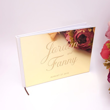 25x18cm Custom Wedding  Horizontal Signature Guest Book Acrylic Mirror White Blank Personalized Books Party Favors Bride Gifts