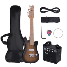 Muslady 28 дюймов дети ST Электрогитара Комплект клен шеи пауловния с мини-усилителем гитары сумка ремень палочки струны аудио кабель