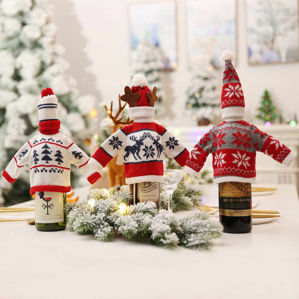 Mikksire 1pc boże narodzenie butelka wina Snowman święty mikołaj dekoracja Xmas otwieracz butelek Stocking prezenty wystrój bożonarodzeniowy nowy rok F1