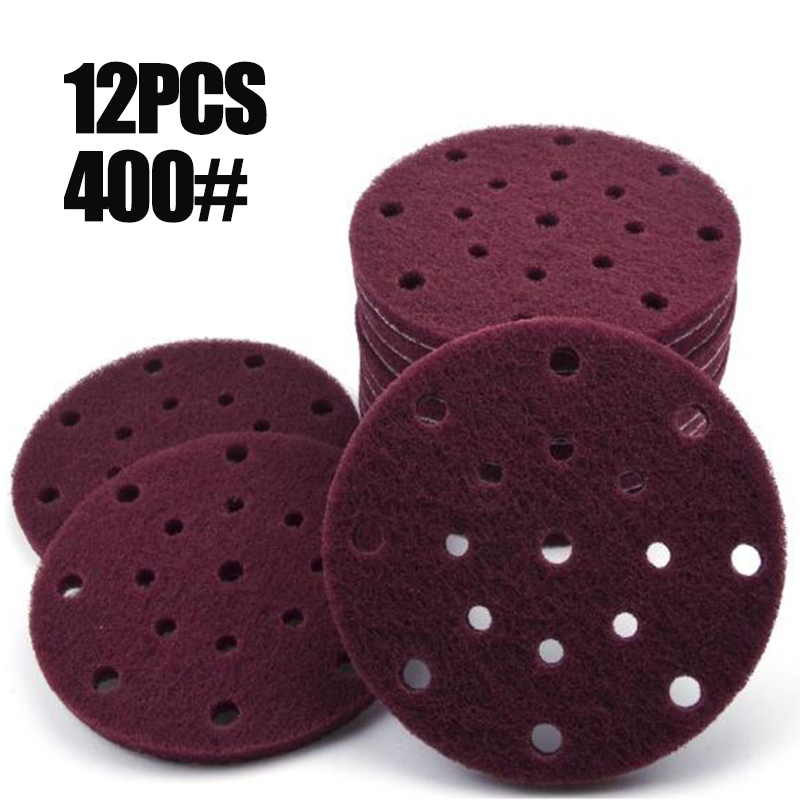 12pcs/Set 6 Inches(150mm) 17-Hole Nylon Hook And Loop Round Scouring Pads Nylon Wood Furniture Fishing