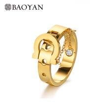 Baoyan Trendy Belt Buckle Women Ring Boho Punk Titanium Steel 2019 Fashion Jewelry Gold Stainless Rings For Men