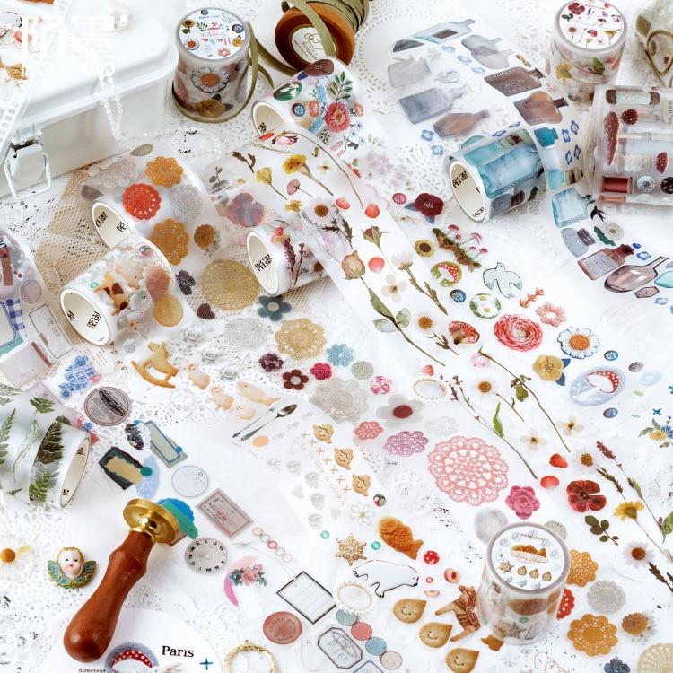 Vintage Washi Tape Pet Transparency Dessert Flower Tape Scrapbooking Album Diy Handmade Decoration Sticker Maskingtape Paper