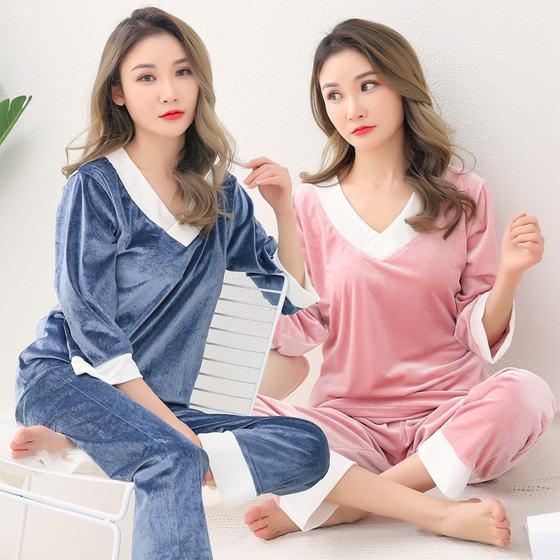 Plus Size 5XL Thick Warm Gold Velvet V-neck Pajama Set For Women 2019 Autumn Winter Sleepwear Homewear Pijama Mujer Home Clothes