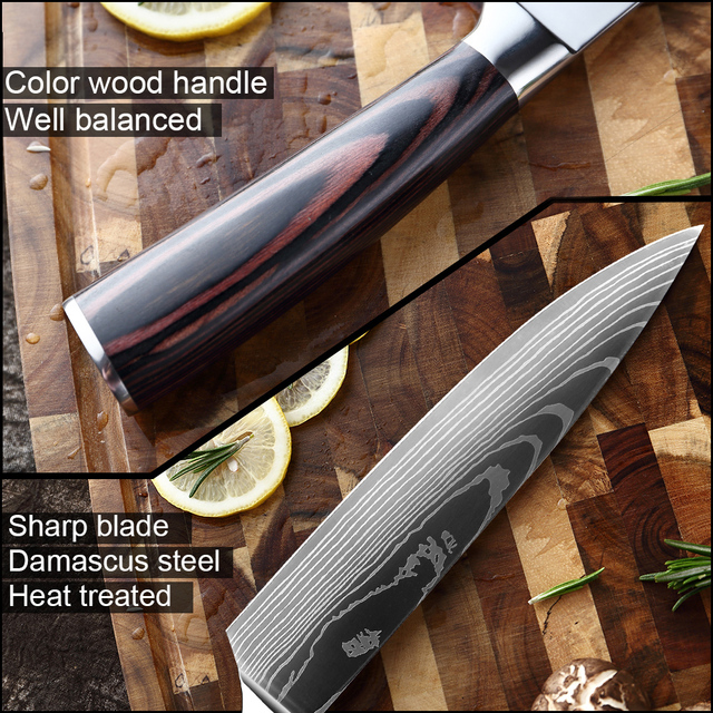 XITUO 8″inch Japanese Kitchen Knives With Laser Damascus Pattern